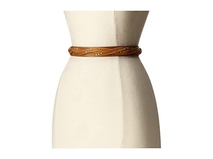 ADA Collection Skinny Wrap Belt with Rivets (Tan) Women