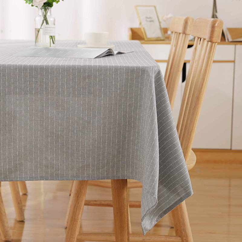 Deconovo Spillproof Striped Rectangle Tablecloth 54 X 72 Inch Decorative Light Grey Table Cloth For Indoor And Outdoor Use