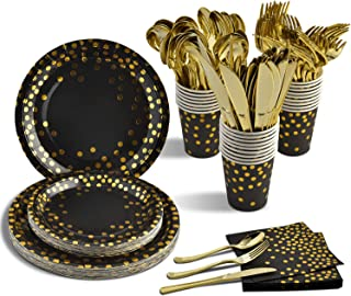 175PCS Disposable Black and Gold Party Supplies Paper Plates and Napkins Cups Sets Gold Plastic Forks Knives Spoons Serves...
