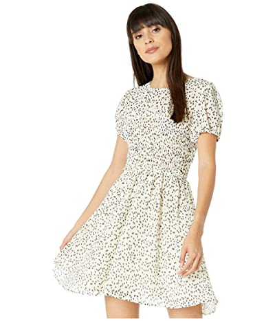 American Rose Diem Short Sleeve Heart Dress with Smocking (Ivory/Black) Women