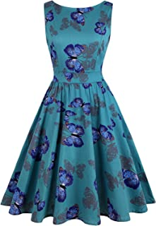 Women's Floral 1950s Vintage Swing Cocktail Party Dress Sleeveless