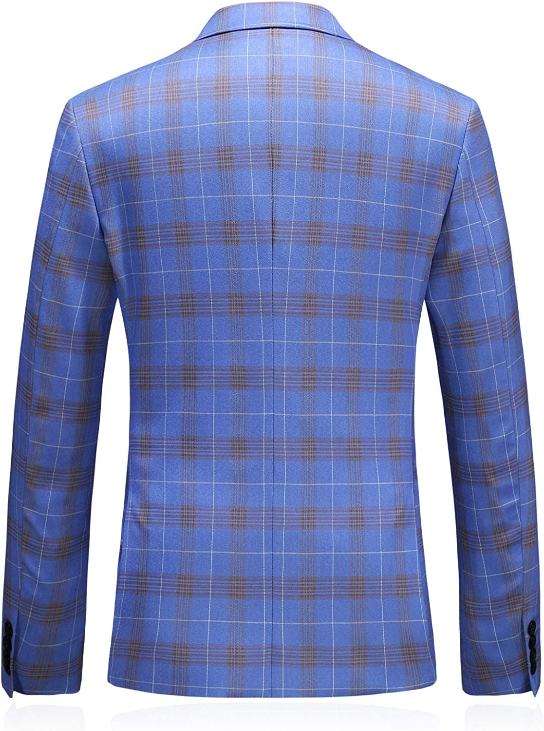 MOGU Mens 3 Piece Double Breasted Plaid Suit Slim Fit Tuxedo for Prom Wedding Party
