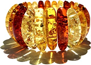Natural Cognac Honey Multicolored Amber Stretch Bracelet For Women