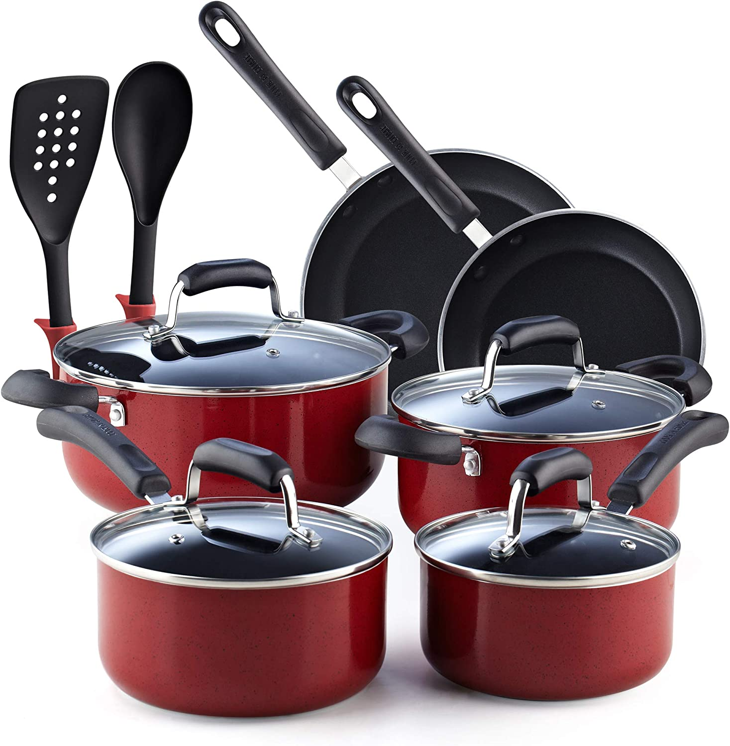 Cook N Home 02601 Stay Cool Handle, Red Marble Pattern 12-Piece Nonstick Cookware Set,