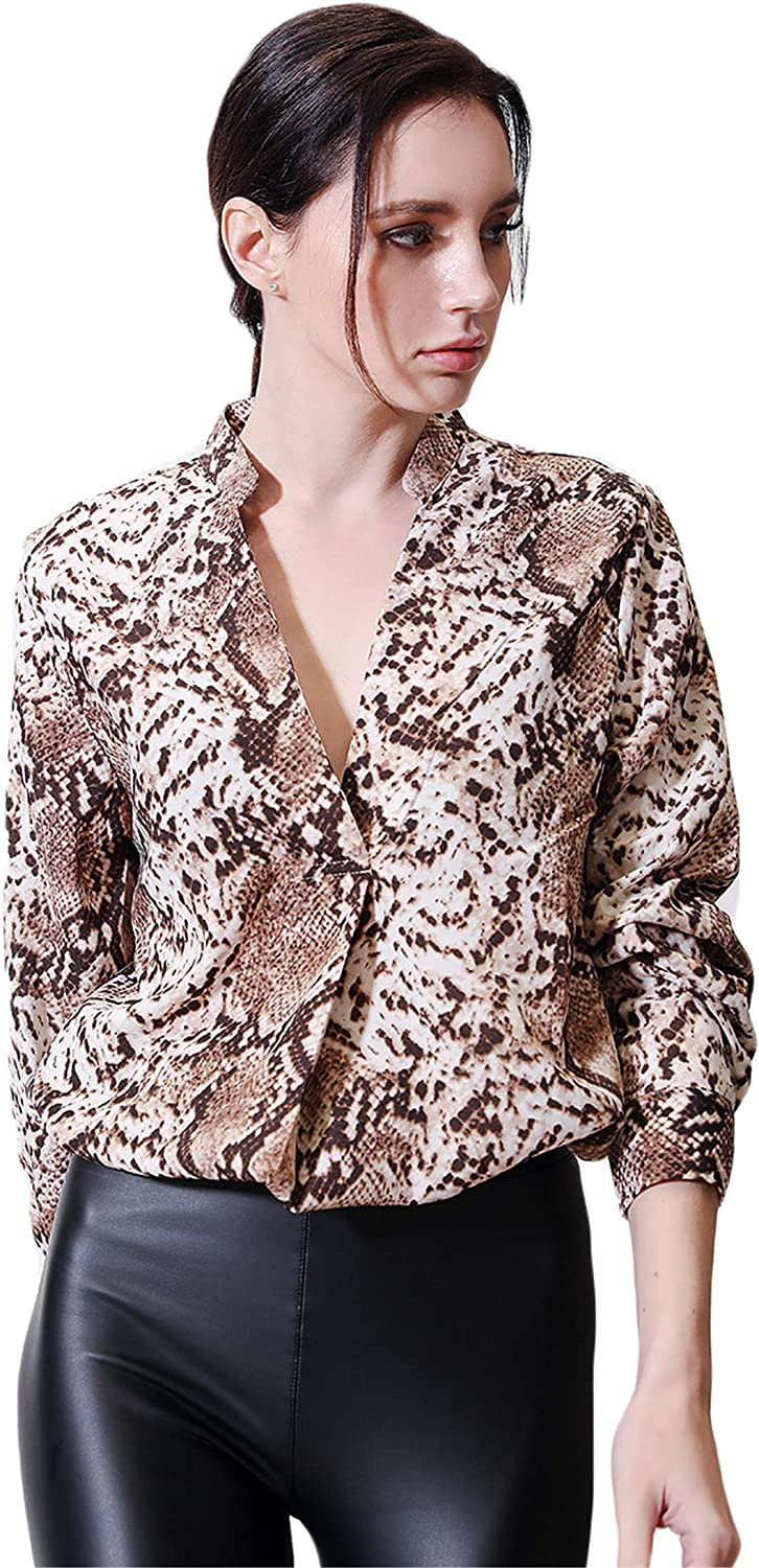 Andongnywell Long Beach Mall Women's Snake Printed V-Neck Tops Discount mail order Ladie Long Sleeve