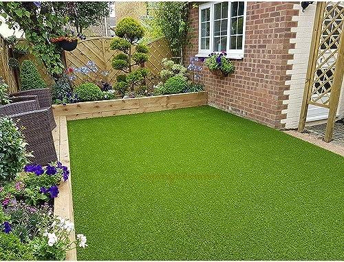 Eurotex Artificial Grass Carpet Mat for Covering Balcony, Lawn, Door (PE & PP, Size 6.5 X 4 Feet, 25mm 4-Tone Green C...