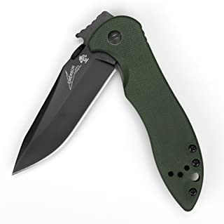 Kershaw CQC-5K Knife (6074OLBLK); 3 In. 8Cr14MoV Stainless Steel Blade with Black-Oxide Coating and Textured Olive Drab G-10 Handle Scales, Wave-Shaped Opening System and Reversible Pocketclip, 3.7 OZ