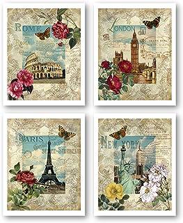 Set of 5 Art History Plate Italian Souvenir Vintage Art Famous Paintings Decor Decorative Set Plastic Made in Italy