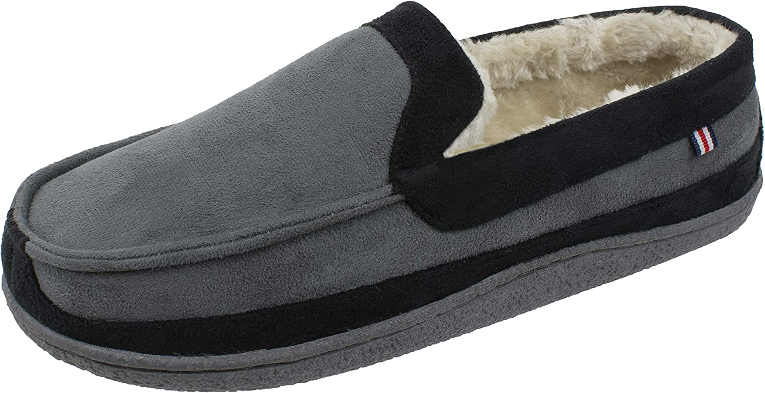 Winter Warm Slippers with Memory Foam Size 8 to 13 IZOD Mens Classic Two-Tone Moccasin Slipper