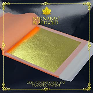 Genuine Gold Leaf Sheets 23.5k - by Barnabas Blattgold - 3.1 inches - 25 Sheets Booklet - Transfer Patent Leaf