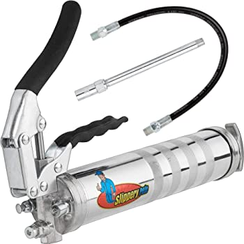 Slippery Pete Pistol Grip Grease Gun - Long Lasting Heavy Duty Steel Construction - Lubricate Tractors, RV's and Cars - Uses 14 Ounce Grease Cartridges