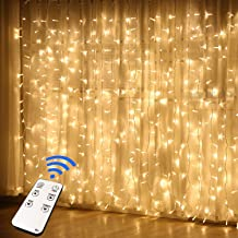 JMEXSUSS Remote Control 300 LED Window Curtain String Light for Wedding Party Home Garden Bedroom Outdoor Indoor Wall Decorations (Warm White)