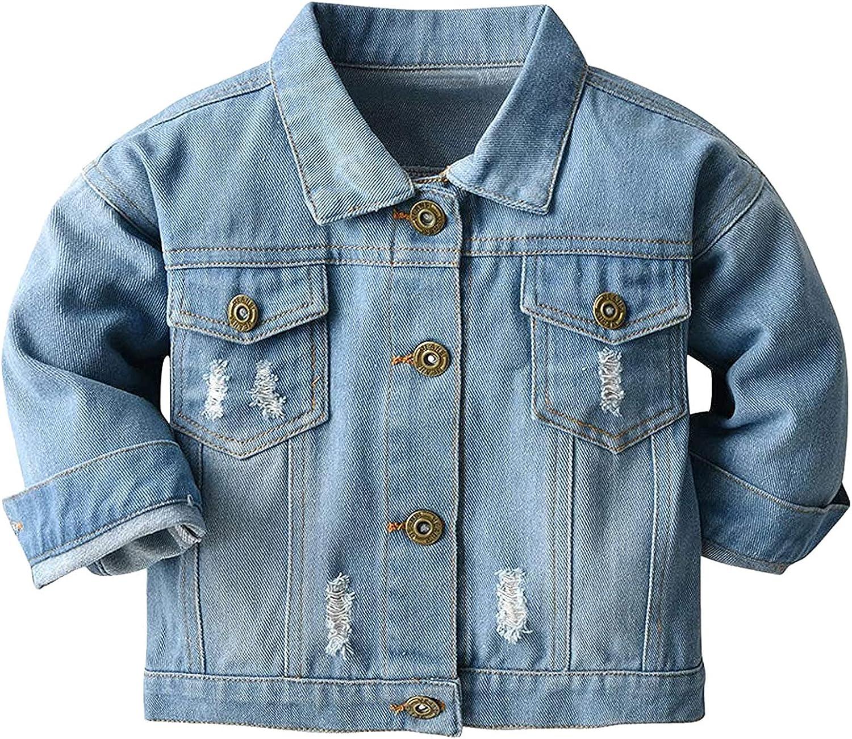 Jchen Boys Girls Denim Jacket Kids Long Sleeve Ripped Jean Jacket Basic Button Down Vintage Distressed Denim Jean Jacket