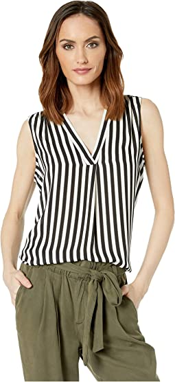 Sleeveless V-Neck Simple Stripe Rumple Blouse