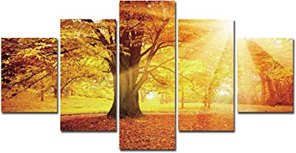 Framed Wall Art Canvas Painting - 5 piece Landscape Golden Tree Sunshine Autumn Print on Canvas and Easy to Install with Instruction Manual for Bedroom Wall Decor Nature Wall Pictures Room Decoration