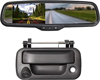EWAY Tailgate Handle Backup Camera with 4.3 Rear View Mirror Monitor Kit for Ford F150 2004-2014/Heavy Duty F250/F350/F450/F550 2008-2014 Waterproof Reverse Reversing Backing Auto Parking Cameras