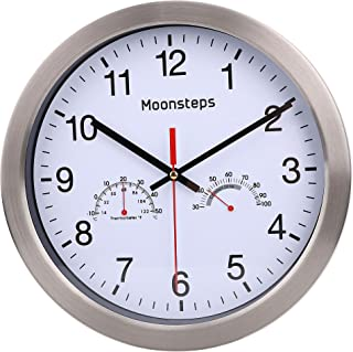 Moonsteps 12 inches Quartz Silent Metal Frame Digital Wall Clock No Ticking with Temperature Humidity Stats, White