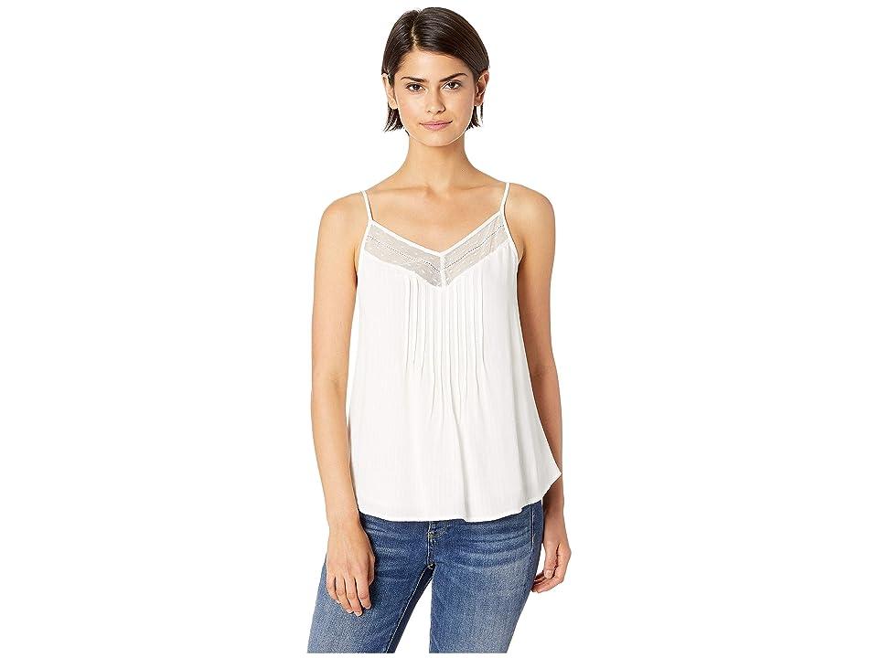 1.STATE Sheer Stripe Lace Inset Cami (Soft Ecru) Women