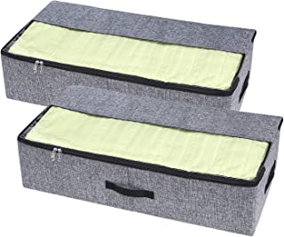 VEAMOR Under Bed Storage Containers Bins with Sturdy Zippers and Handles,Built in Cardboard to Keep Shape, Great Organizer for Blankets Clothes and Sheets (Grey 2pcs)