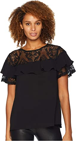 Lace Yoke Ruffle Detail Top