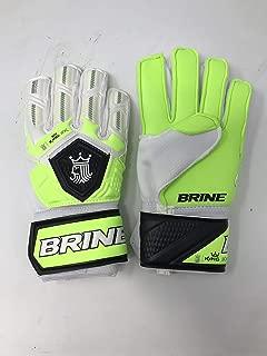 Brine New King Match 3X Goalie Keeper Soccer Gloves Mens 5 White/Green