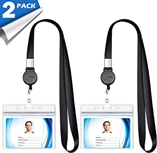 Lanyard with ID Holder (2 Pack) 20 inch Flat Polyester ID Lanyard with Retractable Badge Reel and Horizontal Name Badge Holder for Offices ID, School ID, Driver Licence (2)