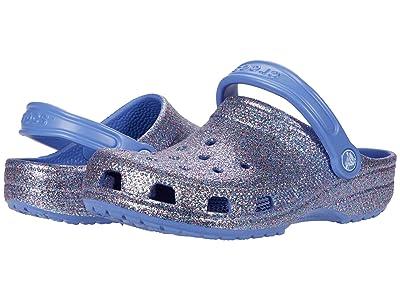Crocs Kids Classic Glitter Clog (Toddler/Little Kid/Big Kid) (Lapis) Girls Shoes
