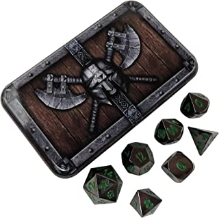 Black Dragon Metal Dice - Shiny Black Nickel with Green Numbers | Solid Metal Polyhedral Role Playing Game (RPG) Dice Set (7 Die in Pack) with Awesome