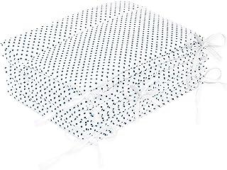 AMI Lian® Protector de cama nido–Protector de cabeza cuna 420x 30cm, 360x 30cm, 180x 30cm Cama Cuna Baby Protector de bordes cama Equipamiento Lunares Blanco blanco weiß Talla:420x30cm