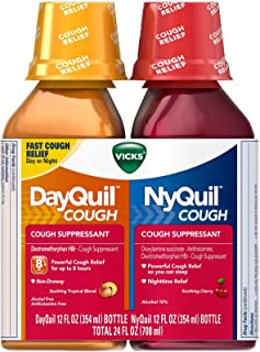Vicks DayQuil and NyQuil Cough Relief Liquid-12 oz