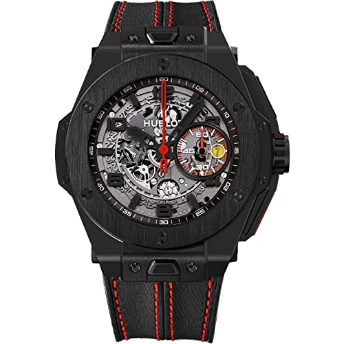 Hublot Ferrari All Black Automatic Openwork Dial Black Ceramic Mens Watch 401.CX.0123