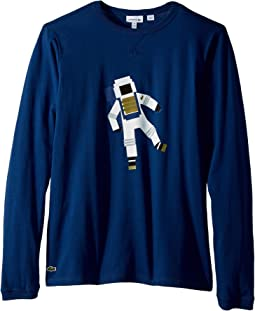 Lacoste Kids - Long Sleeve Space Graphic T-Shirt (Little Kids/Big Kids)