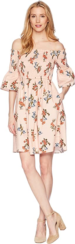 Donna Morgan Off the Shoulder Printed Cotton Poplin with Bell Sleeve