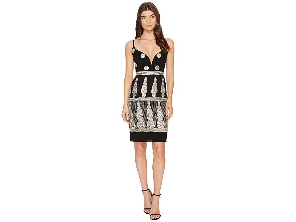 Nicole Miller Enchanted Embroidered Mini Dress (Black/Gold) Women
