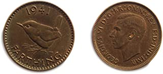 1941 GB George VI British farthing coin for collectors / Almost Uncirculated / AU