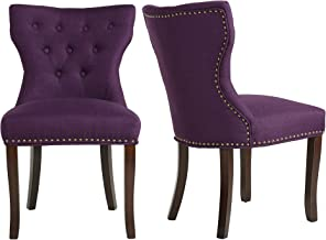 LSSBOUGHT Set of 2 Fabric Dining Chairs Leisure Padded Chairs with Brown Solid Wooden Legs,Nailed Trim,Purple