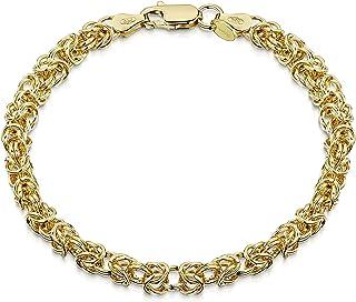 Amberta 18K Gold Plated on 925 Sterling Silver 4.7 mm Byzantine Chain Bracelet