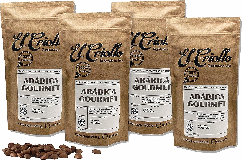 Café Arábica Gourmet EN GRANO - El Criollo® | Blend 100% Arábica de Tueste Natural | Café de Especialidad | Pack de 4x250gr. (1KG)