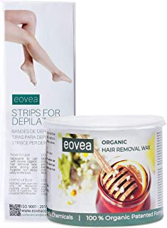 EOVEA Organic Hair Removal Wax with Waxing Strips (700g) | Hair Removal for Women | Removes Taning | Waxing for Face & Bod...