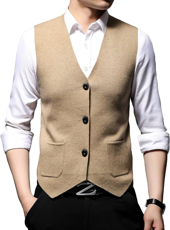 Men's Youth Thickened V-Neck Fur Vest Business Men's Slim Vest with Pockets Solid Color Cardigan Knitted Vest Waistcoat