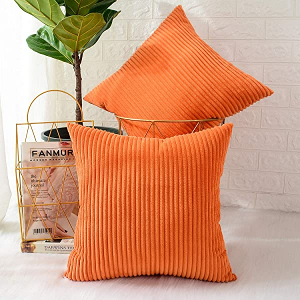 MERNETTE Pack Of 2 Corduroy Soft Decorative Square Throw Pillow Cover Cushion Covers Pillowcase Home Decor Decorations For Sofa Couch Bed Chair 20x20 Inch 50x50 Cm Striped Orange