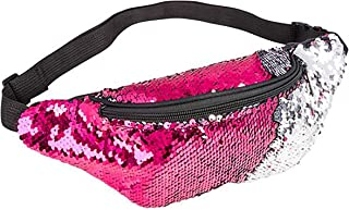 Sequin Waist Bag Fanny Pack Magic Reversible Sequin Waist Pack Double Color Hip Pack Belt Bag for Outdoor Sports,Travel,Party (Pink/Silver)