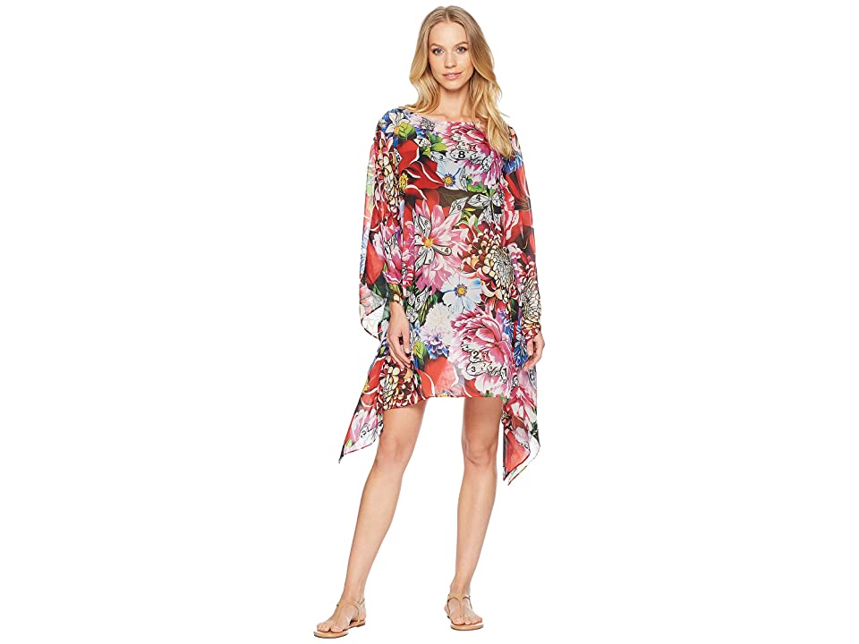 Mary Katrantzou Beach Poncho Printed Georgette Cover-Up (Red) Women