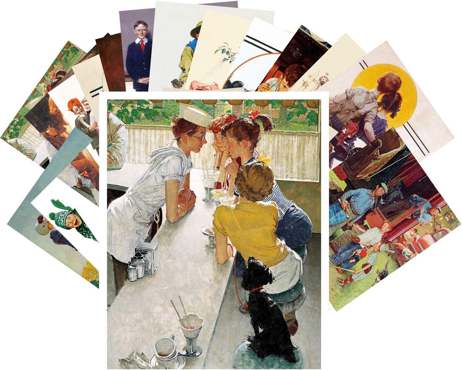 Finally resale start Postcard Set 24 cards Norman Vintage Sport Illustration Rockwell 5 popular