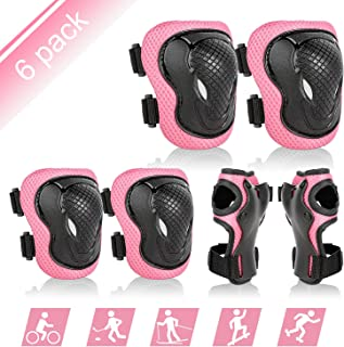 ValueTalks Protective Gear Sets for Youth/Kids Adjustable Safety Knee Pads and Elbow Pads Wrist Guards for 5~15yrs Girls Boys Toddler Cycling Skating Roller Skateboard Bike Scooter Outdoor Sports