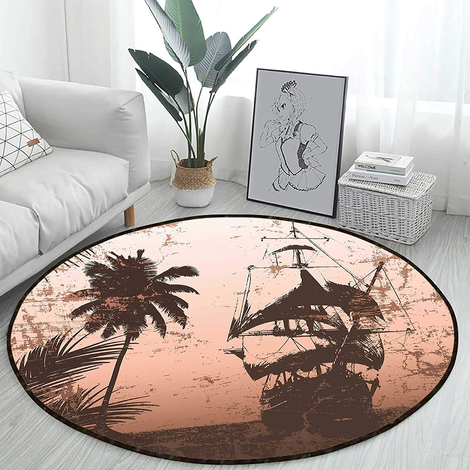 Salmon Army Green Office Swivel Round Ocean Max 62% OFF Fees free!! Chair Decorative Mat