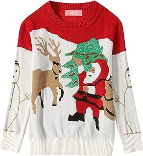 Camii Mia Big Girls' Santa Claus Reindeer Crewneck Ugly Christmas Sweater