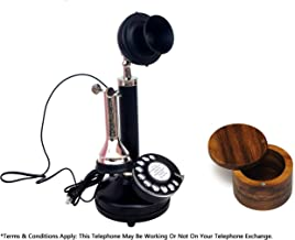 Candelabro vintage antiguo 1980 teléfono retro negro acabado cromo mesa teléfono decorativo teléfono con caja de sal o especias de madera dura gratis