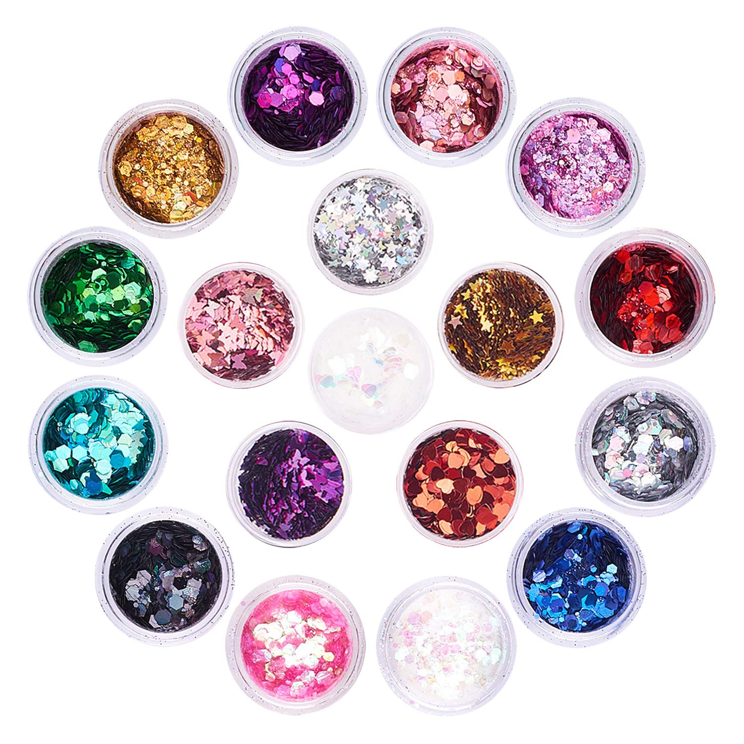 Holographic Chunky Glitter Set, FITDON 12 Colors Face Body Eye Hair Nail Festival Makeup Glitters & 6 Jars Butterfly Star Heart Glitter Sequins : Beauty & Personal Care