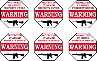 Rogue River Tactical No Trespassing Warning Security Sticker Protected by Armed Property 6 Pack Owner Sign Sticker Decal Window Door Indoor Outdoor 3x3 inch Gun
